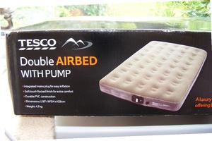 Airbed Double with Pump Never Used from Tesco Built in Pump with Lead