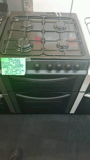 BUSH 60CM GAS DOUBLE OVEN COOKER IN BLACK & SILVER