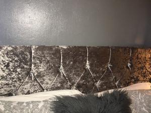 Double bed frame - grey crushed velvet