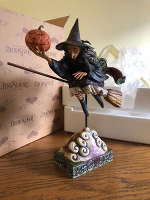 """Jim Shore Heartwood Creek - """"Fly with me for a while"""" witch on broomstick figurine"""