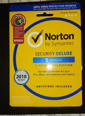 Norton Security Deluxe with Norton Utilties 5 devices 1 year subscription