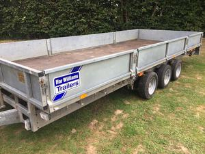 Ifor Williams 18ft tri axle trailer complete with sides