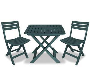 vidaXL Garden Bistro Set 3 Pieces Plastic Green  New