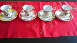 4 German coffee cups and saucers small