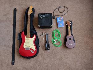 Fender Squier Strat, Amp, and accessories