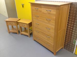 Solid oak Large chest of drawers & bedside cabinets tables Laura Ashley habitat John Lewis loaf oka