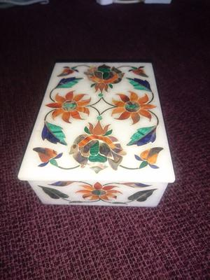 White stone box with mother of pearl inlay