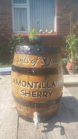 Vintage sherry barrel 9 x 14 inch Grants of St James's Amontillado sherry -ornamental only, no Base