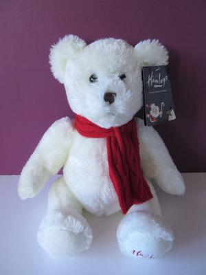 NEW Hamleys white knitted red scarf teddy bear baby soft toy