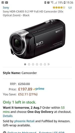 Sony camcorder HDR-CX405 full HD 30x optical zoom - like new - in box - with all accessories