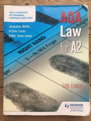 A Level Law - AQA Law for A2 Fifth Edition, Denis Lancer, Jacqueline Martin