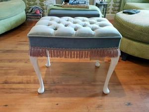 Vintage Retro Dressing Table Stool with Queen Anne Style Legs Pouffee Footstool Foot Stool