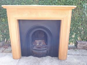 Complete Fireplace, Mid Oak Fire Surround and Black Cast Iron Fire Inset