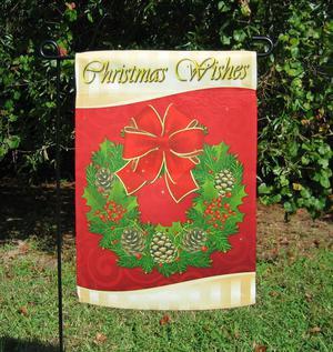 "Decorative Christmas Flag with Wreath - 13"" x 18.5"" - NEW"