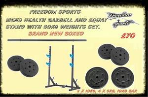 MENS HEALTH Barbell with Fly and Squat Stand With 50Kg Vinyl Weights Set Brand New Boxed
