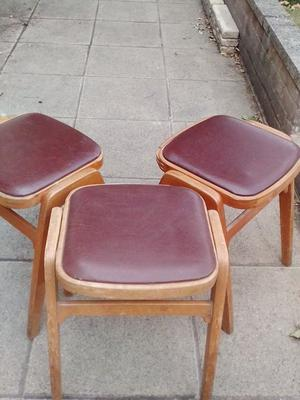 original 3 wooden stools brown vinyl lift out seat tops 18 ins high great 60's furniture