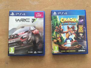 Wrc and Crash bandicoot PS4 immaculate condition