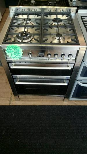 SMEG 70CM DUEL FUEL DOUBLE OVEN COOKER IN SILVER