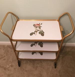 Vintage antique trolley 3-tier with removable top tray and rose motif