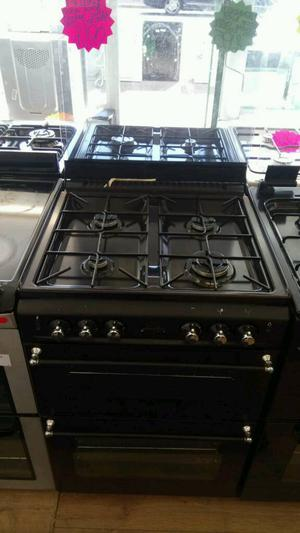 BELLING 60CM GAS DOUBLE OVEN COOKER IN BLACK