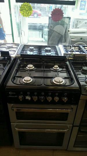 FLAVEL 60CM GAS DOUBLE OVEN COOKER IN SILVER