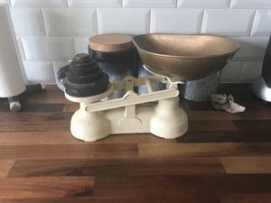 Antique weighing scales with all the weights