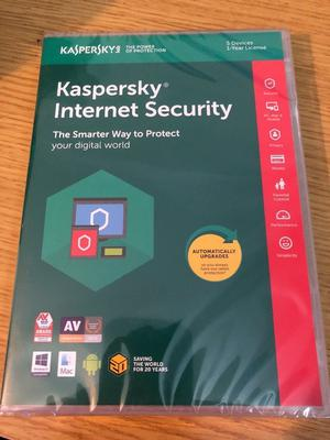 Kaspersky Internet Security - 5 Devices 1 Year License - BRAND NEW / SEALED