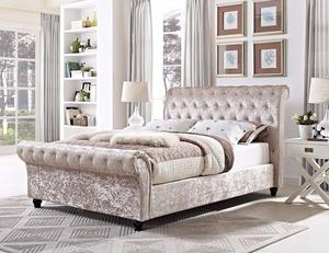 BLACK SILVER AND CREAM** BRAND NEW Double Sleigh Bed in Silver, Cream Or Black Crushed Velvet