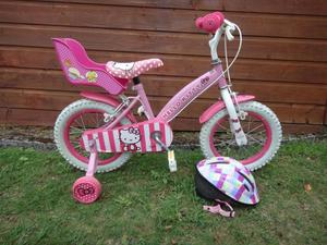 Hello kitty girls bike to suit age 3 to 5 years old, 14 inch wheels with stabilisers and dolls seat