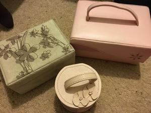 Set of three jewellery boxes good condition job lot