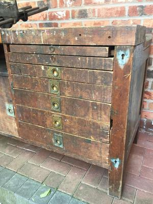 Antique Vintage Industrial Workbench Table Cabinet Sideboard Drawers