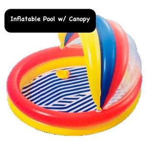"Kids Inflatable Pool w Canopy 59"" x 54"" x 29"" Age 3+ Beach"