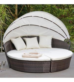 Brand New Sicily Modular Brown Rattan Day Bed With Cream Cushions Canopy Outdoor Garden Patio Set