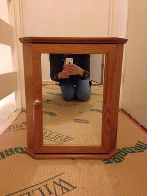Brown Triangle Bathroom Corner Wall Cabinet with Mirror Door & Shelf Inside