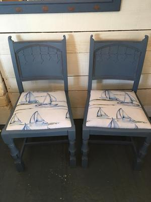 Pair of vintage oak shabby chic chairs