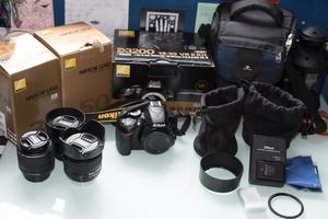 Nikon D with kit/35mm/50mm lenses + accessories