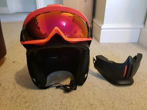 Ski helmet, goggles & mouthpiece