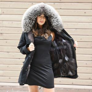 DAYMISFURRY-- Silver Fox Fur Lined Parka with Silver Fox Fur Hood