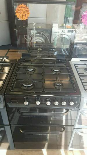 SERVIS 60CM GAS DOUBLE OVEN COOKER IN BLACK