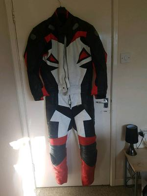 Red white and black padded leathers