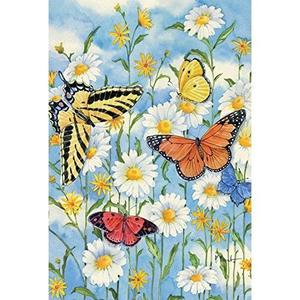 Toland Home Garden Butterflies and Daisies 12.5 x 18 Inch