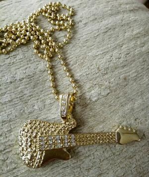 Brand new 24k gold plated GUITAR necklace