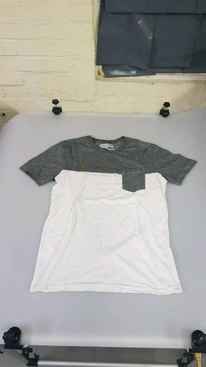 Mens Used Zara T Shirt Size Small  Inch Chest Regular Fit Pocketed White & Dark Grey