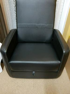 Ottoman Convertible Leather Storage Gaming Chair Footrest - Like New Mint