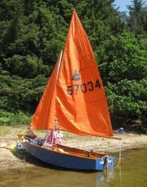 Mirror Dinghy with launch trolley and road trailer, full rig inc. sails, oars and rollocks.