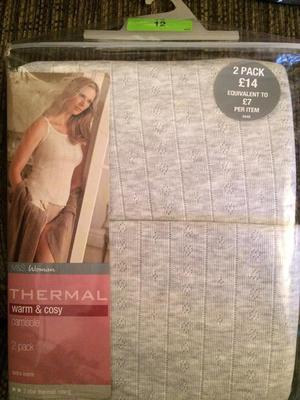 M&S Thermal Camisole twin pack size 12 BNWT