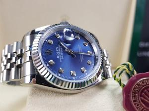 NEW! Rolex DateJust, Silver with Navy Face with Timestones. Includes BOX, BAG & PAPERWORK. 1YW. £140
