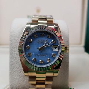 NEW!!Ladies Rolex DateJust Gold with Blue Face & Timestones. INCLUDES BOX, BAG & PAPERWORK. 1YW £140