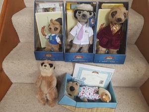 NEW - Meerkat Collection in presentation boxes with original certificates,additional new Meerkat toy