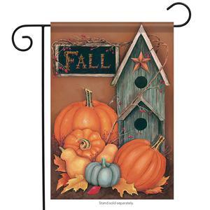 Rustic Fall Birdhouse Garden Flag Autumn Pumpkin Primitive 2